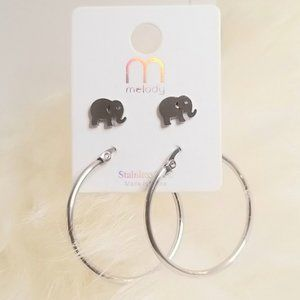 Hoops & Elephant Earrings